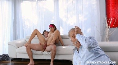Teamskeet - FamilyStrokes - Don't Wake Up Grandpa, Brother! with brooke haze