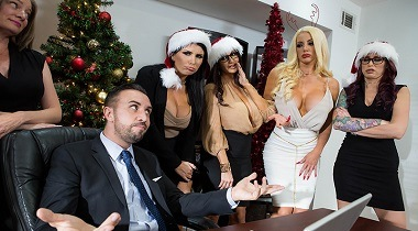 Brazzers - Office 4-Play Christmas Bonuses Ava Addams, Monique Alexander, Nicolette Shea, Romi Rain & Keiran Lee 380x210