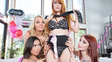 Girlsway - Strap-On Stories Gangbang Bachelorette by Penny Pax, Violet Monroe, Melissa Moore & Aaliyah Love 380x210