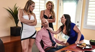 Brazzers xxx - Dinner For Cheats Angela White, Kagney Linn Karter, Phoenix Marie & Johnny Sins - Pornstars Like It Big 380x210